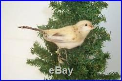 Antique Vintage Feather Tree Christmas Ornament Spun Cotton Bird Feathers