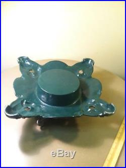 Antique Vintage GREEN Cast Iron Christmas Tree Stand Holly Wreaths Berrys Heavy