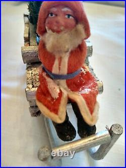 Antique Vintage Santa In Wooden Sleigh German Christmas tree