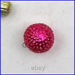 Antique Vintage Small Feather Tree Glass Christmas Ornaments Santa Berry Figural