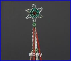 Antique beaded christmas tree topper, Gablonz, Czechia, ca. 1930 (# 11713)
