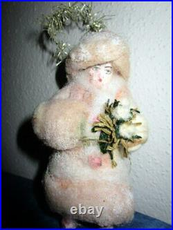 Antique cotton Christmas tree ornament/snow girl -tinsel-Germany