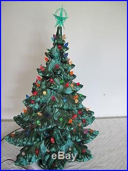 Atlantic Mold 24 Ceramic Lighted Christmas Tree Musical With Base Vintage