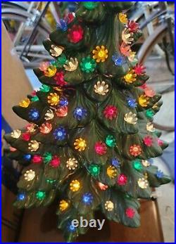 Atlantic Mold Ceramic Lighted Christmas Tree 24 With Base Vintage 1970's