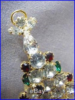 Attruia Brooch Red Green Crystal Rhinestone Vintage Pin Angel Christmas Tree