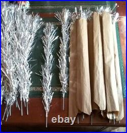 Authentic Vintage 4.5 Ft Silver Aluminum Christmas Table Top Tinsel Tree, USA
