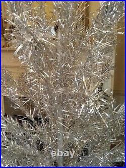 Authentic Vintage 6.5 Ft Silver Aluminum Christmas Tinsel Pom Pom Tree