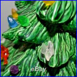 Authentic Vintage Large 1970s Atlantic Mold Ceramic Christmas Tree 19 withBirds