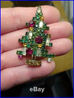 BEAUTIFUL Vintage WEISS CHRISTMAS TREE BROOCH PIN 5 CANDLE VG-Old Estate Find