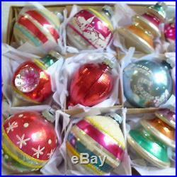 BEST Box 12 Vtg Glass Xmas Ornaments Stencils Mica Glitter Tree Shape