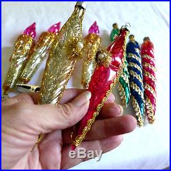 BEST Vtg Icicles Candle Ornate Fancy Plastic Ornaments Tinsel Xmas Tree Clip Lot