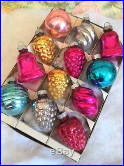 Beautiful Antique Vtg Shiny Brite Feather Tree Xmas Ornaments Grapes Swirls Bell