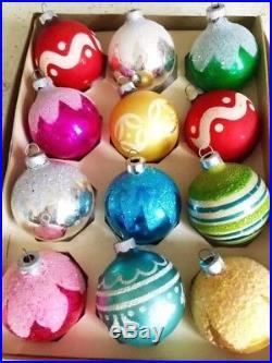 Beautiful! Vintage Shiny Brite Antique Lot Box Glass Xmas Tree Ornaments