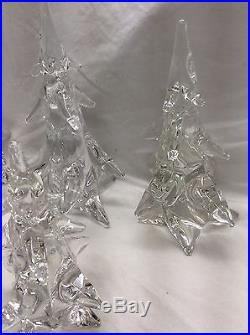 Beautiful Vtg Signed Made In France Crystal Christmas Trees