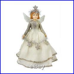 Bethany Lowe Christmas Tree Topper Angel Retro Vintage Style Glitter White Silve