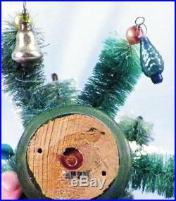 Bottle Brush Christmas Tree Mercury Glass Balls Candles Snow Vintage Japan