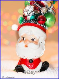 Bottlebrush Vintage Christmas Tree Ornaments Decoration In Santa Mug or Cup Bott