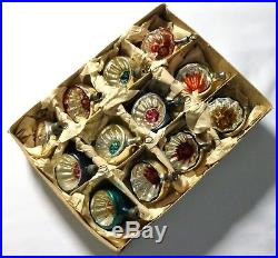 Box 12 Vintage 1950's Concave Mercury Glass Feather Christmas Tree Baubles Cb10