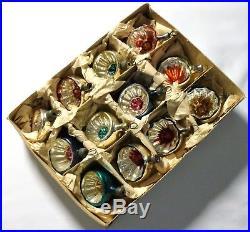 Box 12 Vintage 1950's Concave Mercury Glass Feather Christmas Tree Baubles Cb10