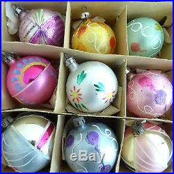 Box 12 Vtg 30s Hand Painted POLAND Fantasia Sm Feather Tree Glass Xmas Ornaments
