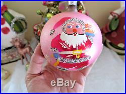 Box 6 Vtg BEST JUMBO 4 Poland Glass Xmas Tree Ornaments MICA Pink Santa Sleigh