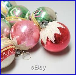 Box of 12 Vintage Shiny Brite Mercury Glass Christmas Tree Ornaments Flocked