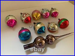 Box of 9 Vintage Glass Christmas Ornaments Indented Hand Painted with Tree Topper