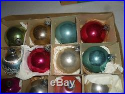 Boxed Christmas Shiny Brite George Franke Glass Ball Tree Ornament Lot Vintage