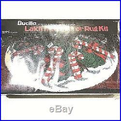 Bucilla Christmas Latch Tree Skirt Rug Kit Candyland Tree Holiday Vintage NOS