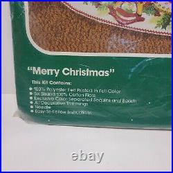 Bucilla Felt Holiday Tree Skirt Kit Cross Stitch Merry Christmas 82102 Vintage