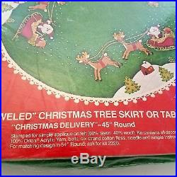 Bucilla Kit 2317 Christmas Delivery Tree Skirt 45 Round Jeweled Felt Vtg USA