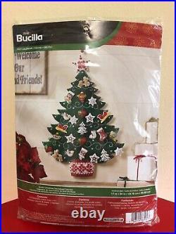 Bucilla SANTACHRISTMAS TREE Felt Vintage Advent Calendar Kit RARE Mint #83425