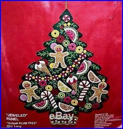 Bucilla SUGAR PLUM TREE Felt Christmas Wall Hanging Kit-Vintage 2830 Sterilized