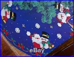 Bucilla SantaCHRISTMAS PALS Vintage Felt Tree Skirt Kit Blue Frosty Sterilized