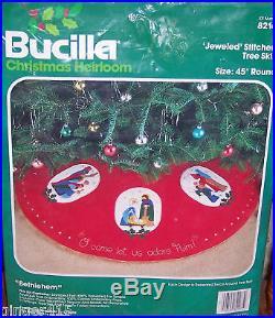 Bucilla Vintage HOLY BETHLEHEM Felt Christmas Nativity Tree Skirt Kit Jesus