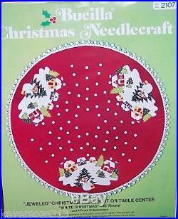 Bucilla WHITE CHRISTMAS Vintage Felt Tree Skirt KitTable Cover Sterilized 45