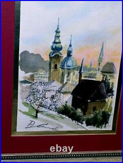 CHRISTMAS GIFT Paris France Cityscape Sunset Blooming Trees Original Vintage WithC