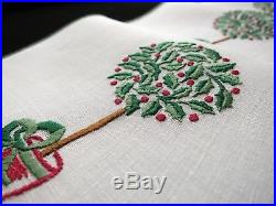 CHRISTMAS TOPIARY TREE Vintage Swiss Hand Embroidery 6 Linen Cocktail Napkins