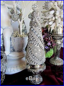 CHic sTatUesQue! Vtg SOLID RHINESTONE JEWELED CHRISTMAS TABLETOP TREE No Frame