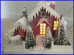 Cardboard Putz Vtg Style Village Christmas House Bottlebrush trees Reindeer Yard
