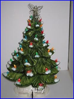 Ceramic Christmas Tree 1970 Mold Lighted Snow Flocked 18.5 Tall VTG