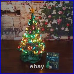Ceramic Christmas Tree Atlantic Mold 2-pc 19 Light with Scroll Base Vintage 1974