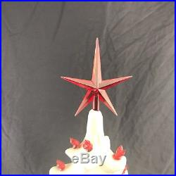 Ceramic Christmas Tree & Base 19 Glossy White with Red Lights Star Tested VTG