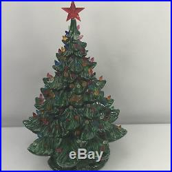 Ceramic Christmas Tree Green Vintage 22 Multi-Color Lights Base