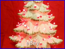 Ceramic Christmas Tree Lighted Atlantic Mold White & Gold Vintage 1962