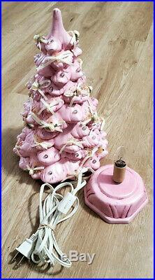 Ceramic Christmas Tree Vintage 1987 Pink 13