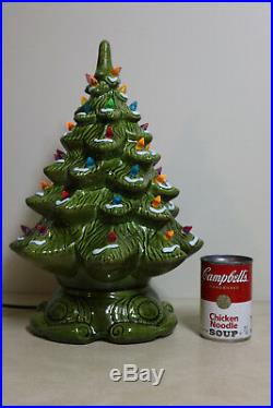 Ceramic Christmas Tree Vintage Lighted 2 Piece 16 Snow Flocked Bright Green