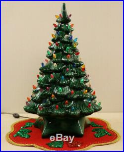 Ceramic Christmas Tree Vtg Lighted 2 Piece Holland Mold 20 Tons Of Bulbs