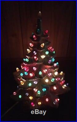 Ceramic Christmas Tree WHITE Atlantic Mold Vintage 14 Pearl Iridescent with light