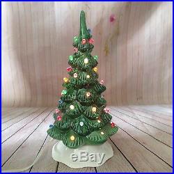 Ceramic Lighted Christmas Tree Decoration Lamp Light Vintage Art Piece Handmade